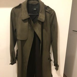Suede long trench coat  olive green
